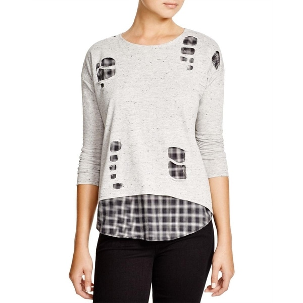 Generation Love Womens Casual Top Layered Shredded Plaid