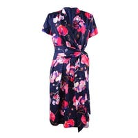 Ellen Tracy Women's  Faux Wrap Floral Print  V-neck Dress - navy/multi