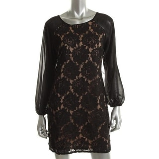 Jessica Howard Womens Petites Cocktail Dress Lace Long Sleeves - 10P