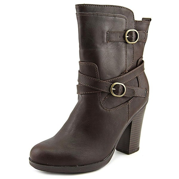 Style & Co Ameliya Women Round Toe Synthetic Brown Ankle Boot