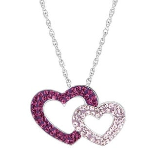 Crystaluxe Double Heart Pendant with Pink & Purple Swarovski Crystals in Sterling Silver