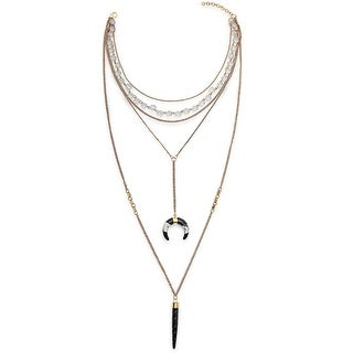 Gold Plated Resin Double Horn Crescent Multi Layer Lariat Necklace For Women