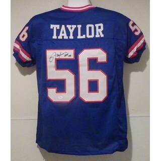 Lawrence Taylor Autographed New York Giants Blue Size XL Jersey HOF JSA