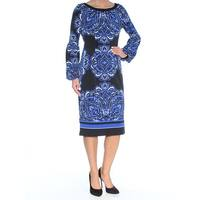 INC Womens Black Ikat Long Sleeve Jewel Neck Above The Knee Fit + Flare Cocktail Dress  Size: XS