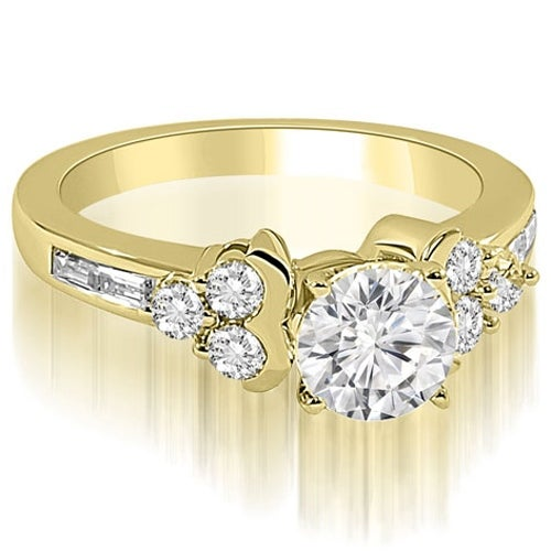 1.15 cttw. 14K Yellow Gold Round and Baguette Cluster Diamond Engagement Ring