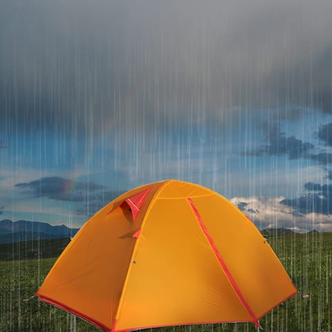 A 2 Person 3 Season Outdoor Camping Tent Waterproof Windproof Anti-UV Tent for Hiking Travel - 1-2 Person
