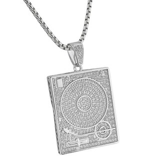 DJ Disc Scratcher Mixer Pendant Lab Diamonds Silver Tone 24 Inch Necklace