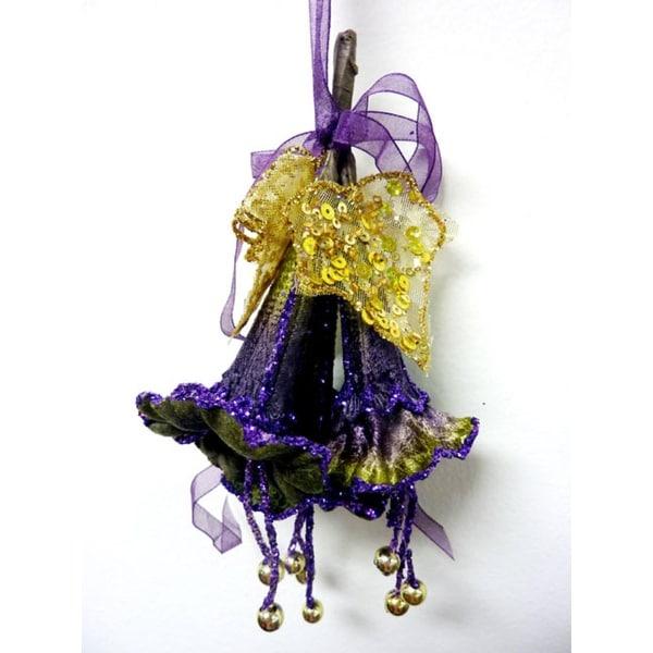 "Princess Garden Green & Lavish Purple Trumpet Lily Christmas Ornament 7"""