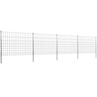 vidaXL Step-In Fence 164' with Posts Galvanized Wire 47.2/10/5.9