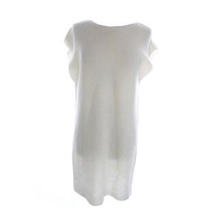 Studio M New Ivory Sleeveless Slit-Side Long Sweater L