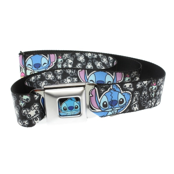 Walt Disney Seatbelt Belt - Lilo & Stitch - Stitch Alien Monster Cute Pose w/ Dolls-Holds Pants Up