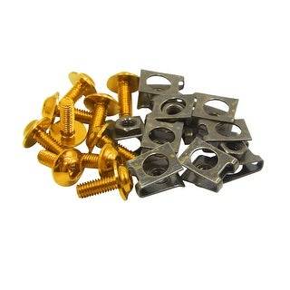 10pcs Metal M6 U Type Rivets Motorcycle Fasteners Clips W Gold Tone Bolts Screws