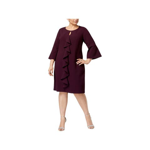 Jessica Howard Womens Plus Cocktail Dress Bell Sleeves Ruffled