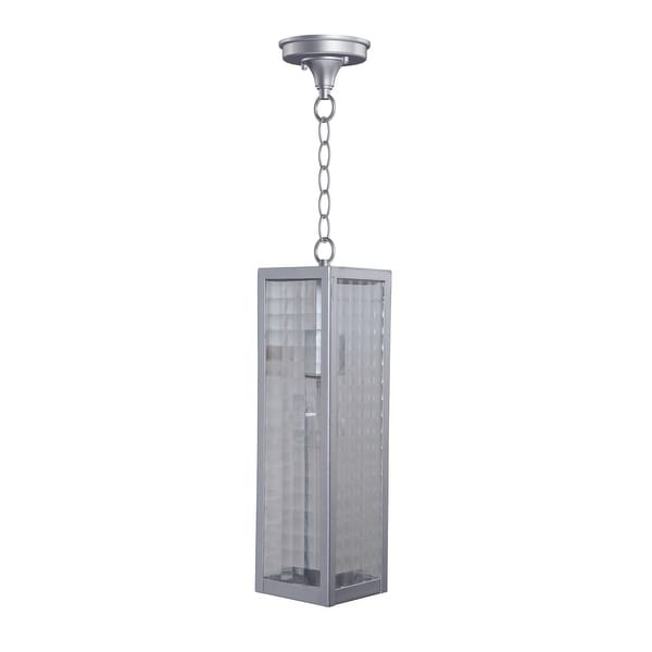 """Craftmade Z4521SC Deka 1-Light 4-27/32"""" Wide Outdoor Mini Pendant with Square Patterned Clear Glass Shade - Chromite - N/A"""