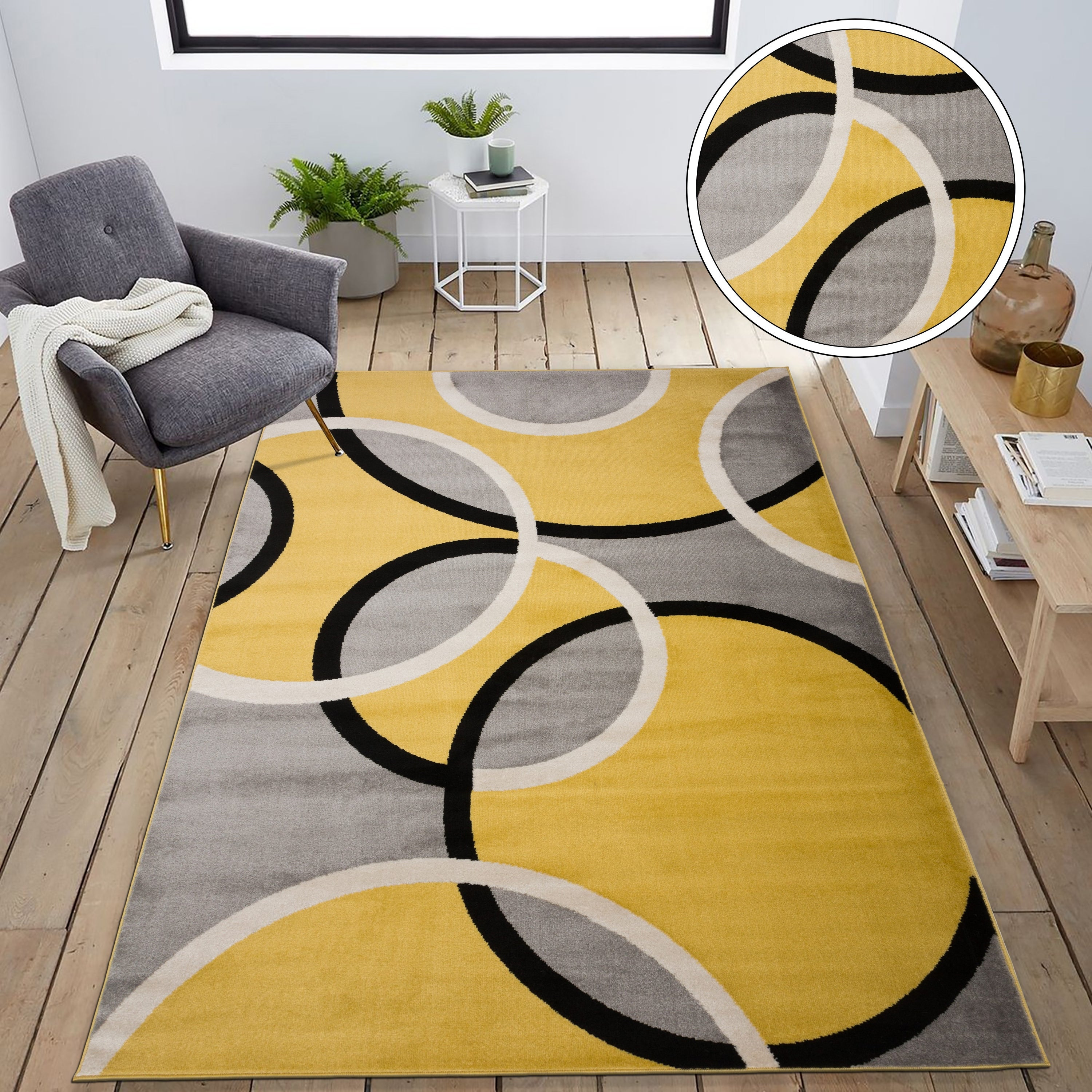 Modern Abstract Circles Area Rug On