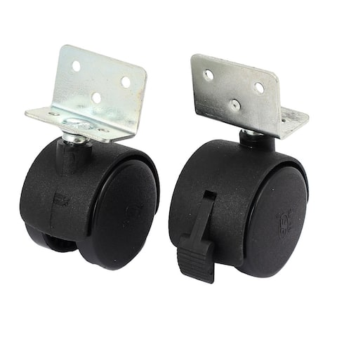 "38mm 1.5"" Dia Wheel Top Plate Rotatable Universal Swivel Brake Caster Black 2pcs"