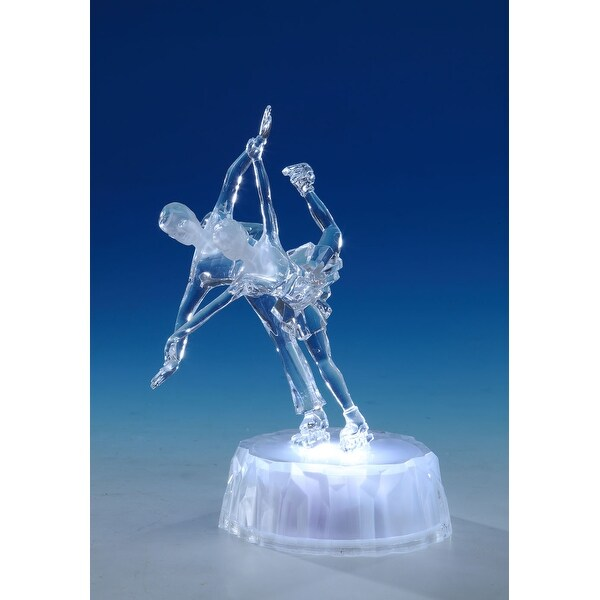 "Set of 2 Clear Skating Pair Decorative Tabletop Figure with LED Light 7.5"" - N/A"