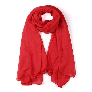 Soft Lightweight Long Scarves With Solid Color Shawl For Women Men Red