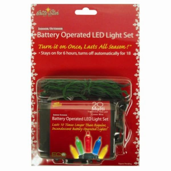 Set of 20 Battery Operated Multi-Color LED Mini Christmas Lights - Green Wire - multi