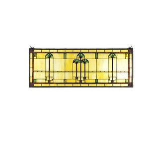 Meyda Tiffany 50825 Tiffany Stained Glass Rectangular Window Pane from the Ginkgo Collection - solid brass