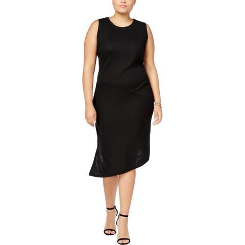 Rachel Roy Womens Plus Midi Dress Asymmetric Sleeveless