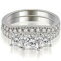 1.40 cttw. 14K White Gold Lucida Three-Stone Princess Cut Bridal Set - Thumbnail 0