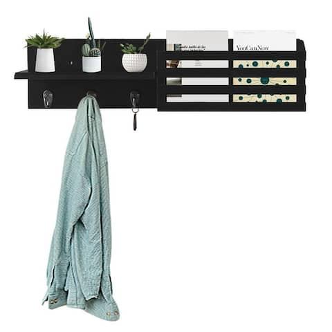 "24"" Hanging Floating Storage Shelf Wall Mount,Black"