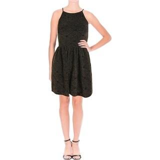 Aqua Womens Metallic Sleeveless Casual Dress