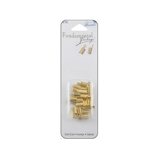 Sweet Beads Fund Find Cord End Foldover 32pc Gold