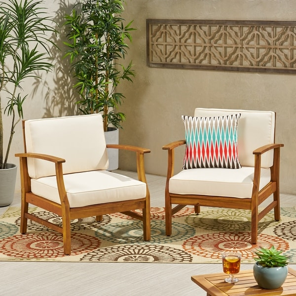 Perla Outdoor Wood Club Chair (Set of 2) by Christopher Knight Home. Opens flyout.