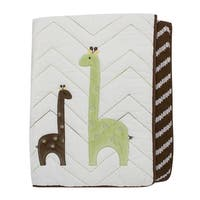 Lambs & Ivy Giraffe Collection Brown/Green/White Reversible Coverlet Nursery Quilt