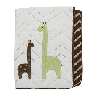 Lambs & Ivy Brown Giraffe Collection Reversible Coverlet Quilt