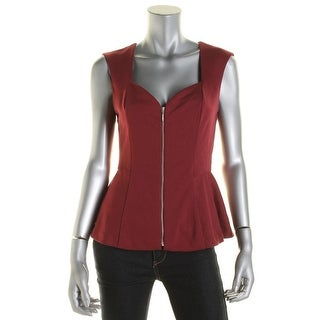 Guess Womens Lace Inset Sweetheart Neck Peplum Top