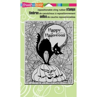 "Stampendous Cling Stamp 4""X6""-Pumpkin Cat"