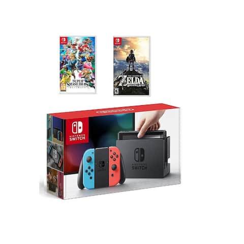 Nintendo Switch Neon Red/Blue 32GB & Smash Bros Ultimate & The Legend of Zelda Bundle