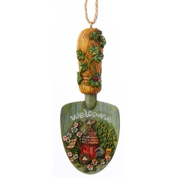 "4"" Country Rustic ""Welcome"" Garden Shovel with Vine Handle Christmas Ornament"