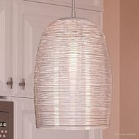 """Luxury Contemporary Hanging Pendant Light, 16.5""""H x 9""""W, with Mediterranean Style, Polished Chrome Finish"""