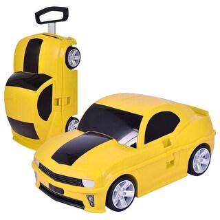 Costway Car Shape 3D Kids Pull Along Travel Case Suitcase Trolley Luggage Carry-On Yellow