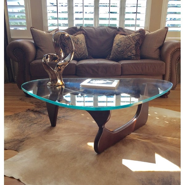 LeisureMod Imperial Triangle Coffee Table With Dark Walnut Wood Base   Free  Shipping Today   Overstock.com   17560500