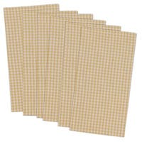 """Set of 6 Yellow and Gray Small Coral Check Patterned Square Napkins 20"""""""