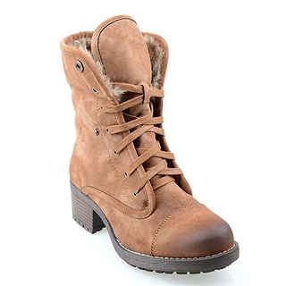 Eyekepper Women's Mid-calf Lace-up Foldable Winter Boots with Fully Fur Lining Camel