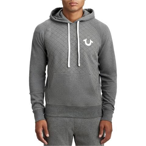 True Religion Mens Quilted Hoodie Sweatshirt gray 2XL