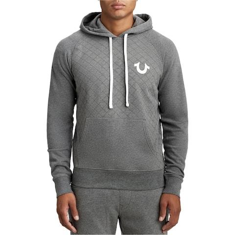 True Religion Mens Quilted Hoodie Sweatshirt gray M