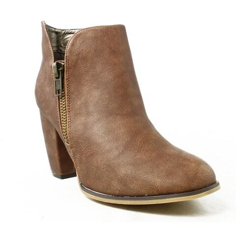 Michael Antonio Womens Marlie-Pu Cognac Booties Size 10