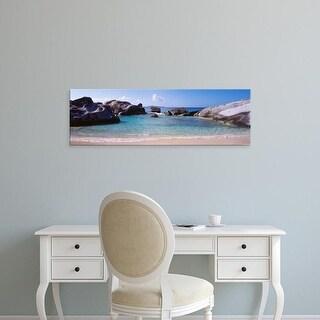 Easy Art Prints Panoramic Images's 'British Virgin Islands, Virgin Gorda, Rock on the beach' Premium Canvas Art