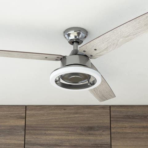 """52"""" Prominence Home Orbis Indoor Modern Ceiling Fan with Remote, Gun Metal"""