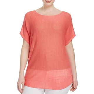 Eileen Fisher Womens Plus Casual Top Ribbed Trim Bateau Neck