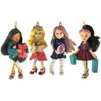 Set of 4 Bratz Kloe, Sasha, Yashim & Jade Christmas Ornaments - multi