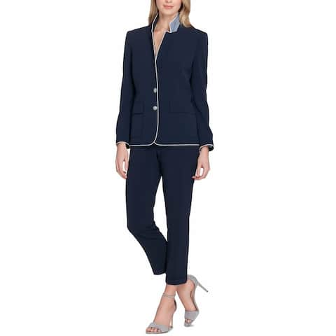 Tahari By ASL Womens Pant Suit Navy Double-Button Piped