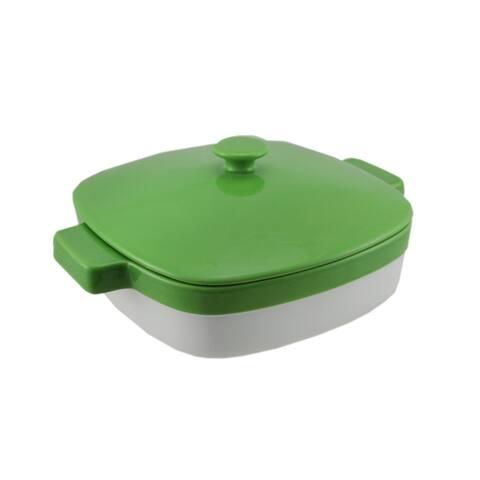 KitchenAid Green and White 1.9 Quart Covered Ceramic Baking Dish - 4.5 X 10.75 X 8.75 inches
